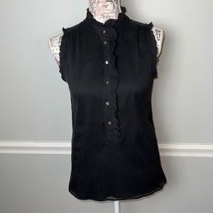J. Crew Black Silk Ruffle Sleeveless Shirt 0